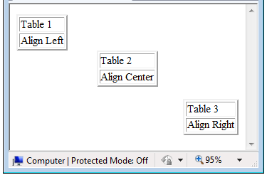 how to set html table align attribute